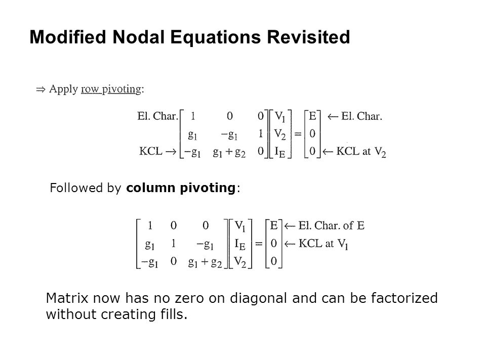 Modified Nodal Equations Revisited Followed by column pivoting: Matrix now has no zero on diagonal and can be factorized without creating fills.