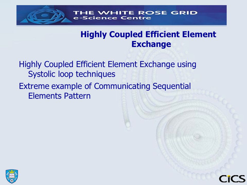 Highly Coupled Efficient Element Exchange Highly Coupled Efficient Element Exchange using Systolic loop techniques Extreme example of Communicating Sequential Elements Pattern