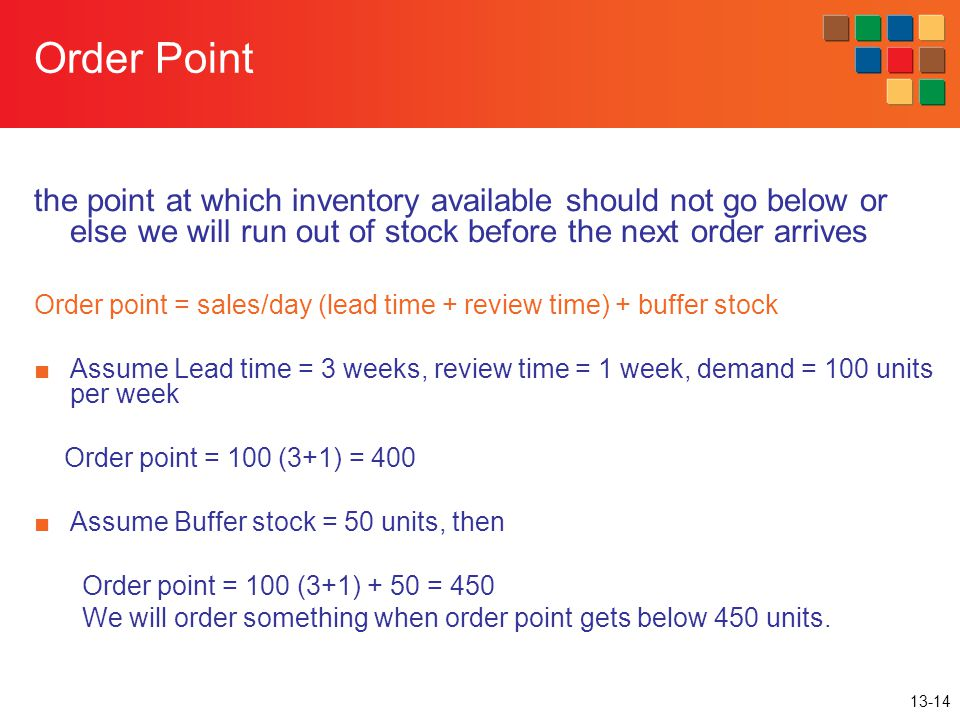 13-14 Order Point the point at which inventory available should not go below or else we will run out of stock before the next order arrives Order poin