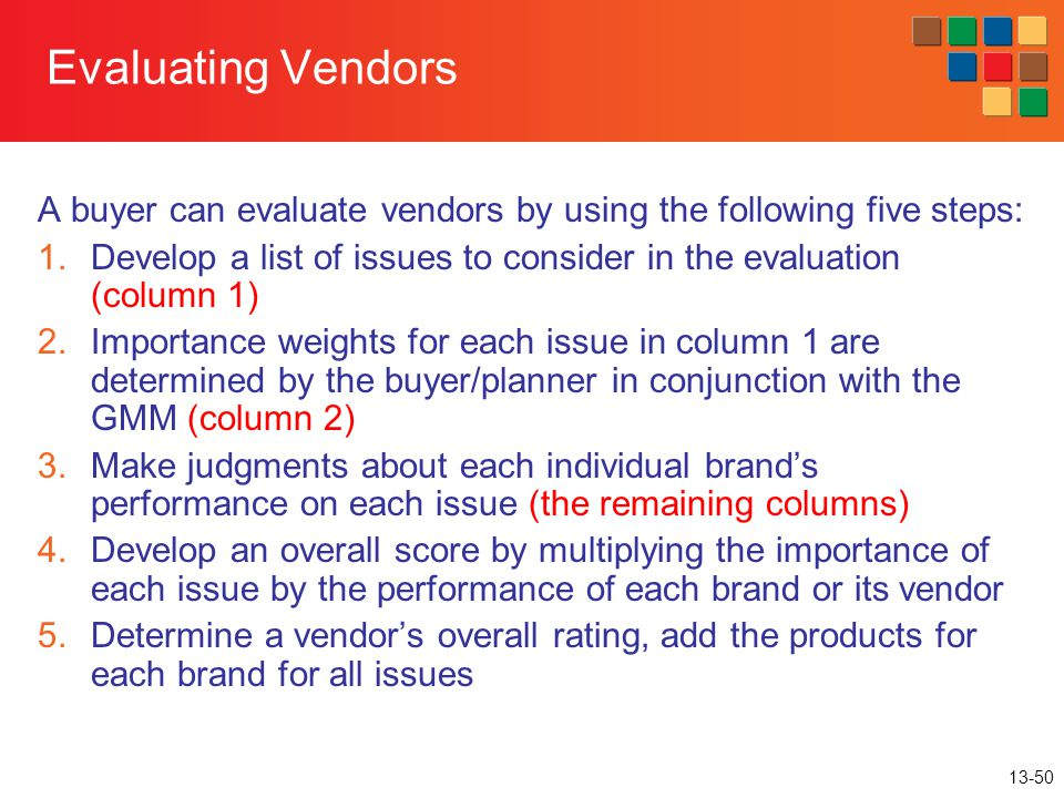 13-50 Evaluating Vendors A buyer can evaluate vendors by using the following five steps: 1.Develop a list of issues to consider in the evaluation (col