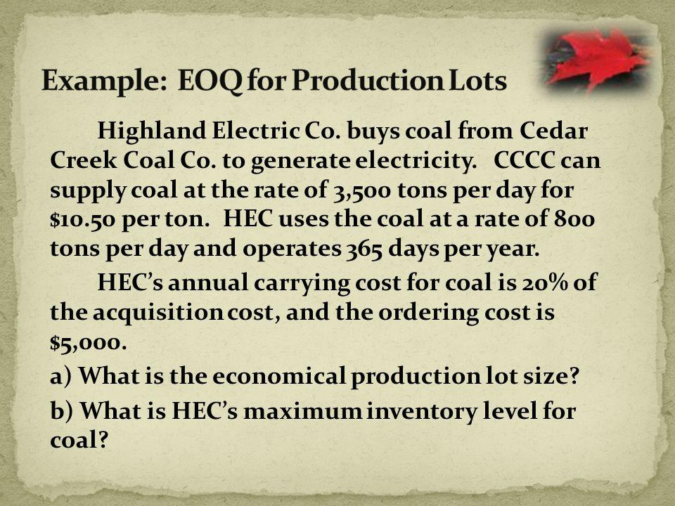 Highland Electric Co. buys coal from Cedar Creek Coal Co.