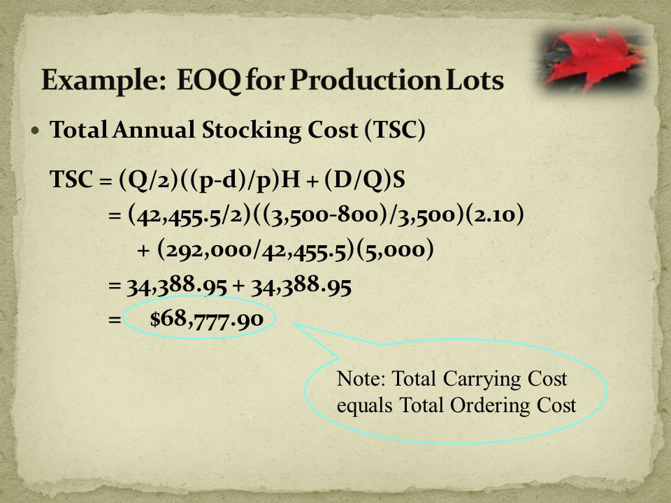 Total Annual Stocking Cost (TSC) TSC = (Q/2)((p-d)/p)H + (D/Q)S = (42,455.5/2)((3,500-800)/3,500)(2.10) + (292,000/42,455.5)(5,000) = 34,388.95 + 34,388.95 = $68,777.90 Note: Total Carrying Cost equals Total Ordering Cost