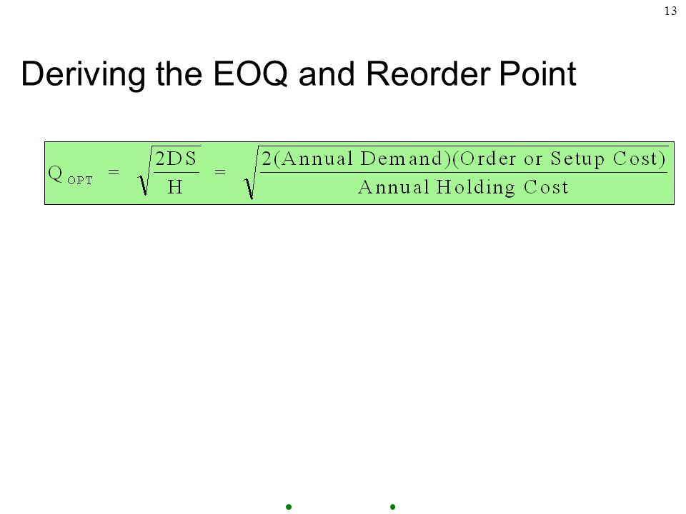 13 Deriving the EOQ and Reorder Point