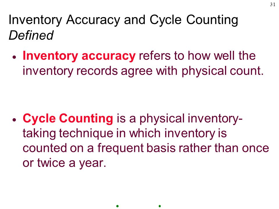 31 Inventory Accuracy and Cycle Counting Defined  Inventory accuracy refers to how well the inventory records agree with physical count.