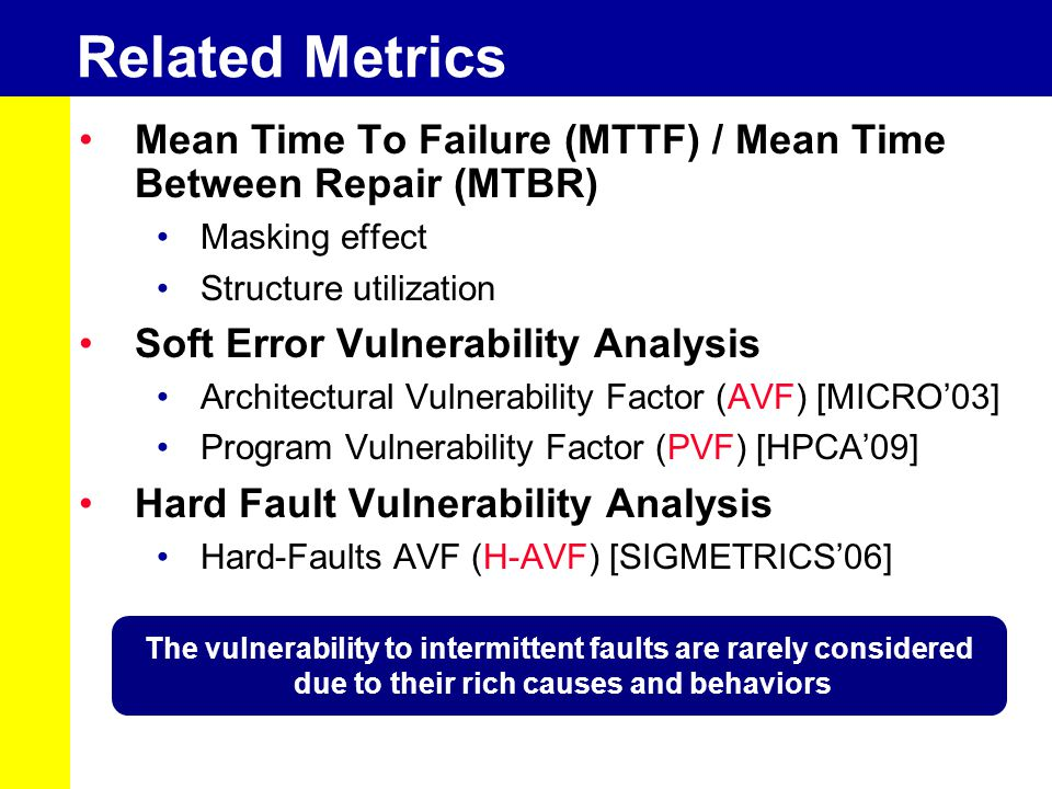 Related Metrics Mean Time To Failure (MTTF) / Mean Time Between Repair (MTBR) Masking effect Structure utilization Soft Error Vulnerability Analysis Architectural Vulnerability Factor (AVF) [MICRO'03] Program Vulnerability Factor (PVF) [HPCA'09] Hard Fault Vulnerability Analysis Hard-Faults AVF (H-AVF) [SIGMETRICS'06] The vulnerability to intermittent faults are rarely considered due to their rich causes and behaviors