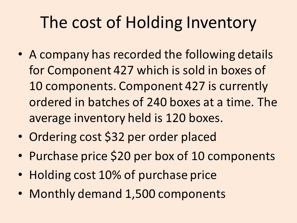 The cost of Holding Inventory A company has recorded the following details for Component 427 which is sold in boxes of 10 components. Component 427 is