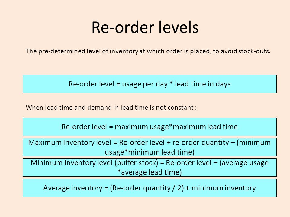 Re-order levels The pre-determined level of inventory at which order is placed, to avoid stock-outs. Re-order level = usage per day * lead time in day