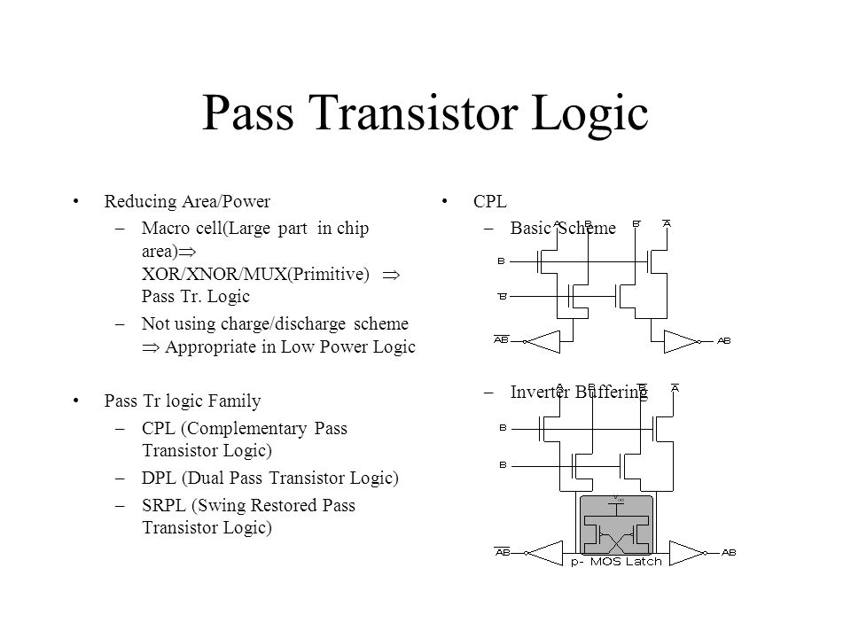 Pass Transistor Logic(Cont'd) DPL –Pass Tr Network + Dual p-MOS –Enables rail-to-rail swing –Characteristics Increasing input capacitance(delay) Increasing driving ability for existing 2 ON-path equals CPL in input loading capacitance SRPL –Pass Tr network + Cross coupled inverter –Restoring logic level –Inverter size must not be too big