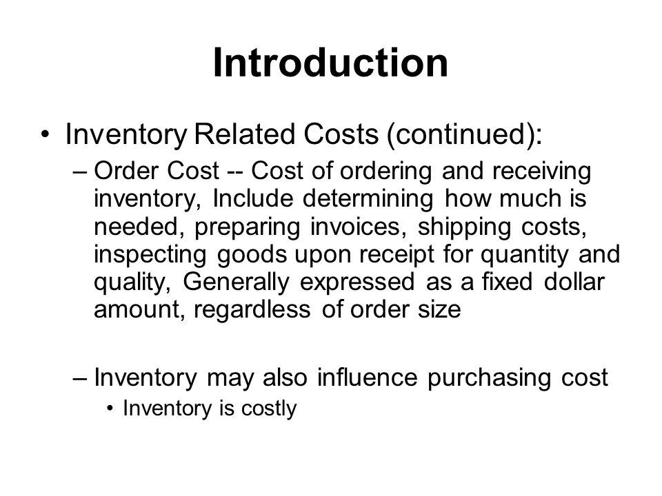 EOQ Model (continued) Observation: at the best order quantity EOQ ( Q 0 ), holding cost = setup cost Solve Q 0, we have