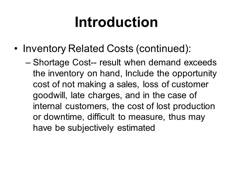 EOQ Model (continued) The Inventory Cost Curve is U-Shaped Annual Cost ( EOQ) QOQO Order Quantity (Q) Annual Carrying Costs Annual Ordering Costs