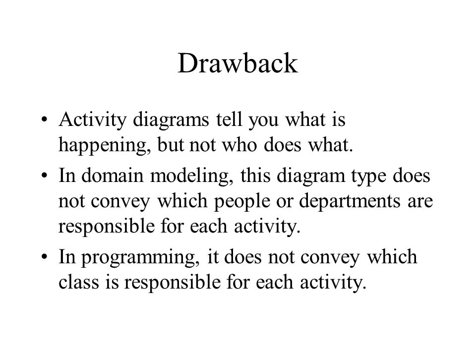 Drawback Activity diagrams tell you what is happening, but not who does what.