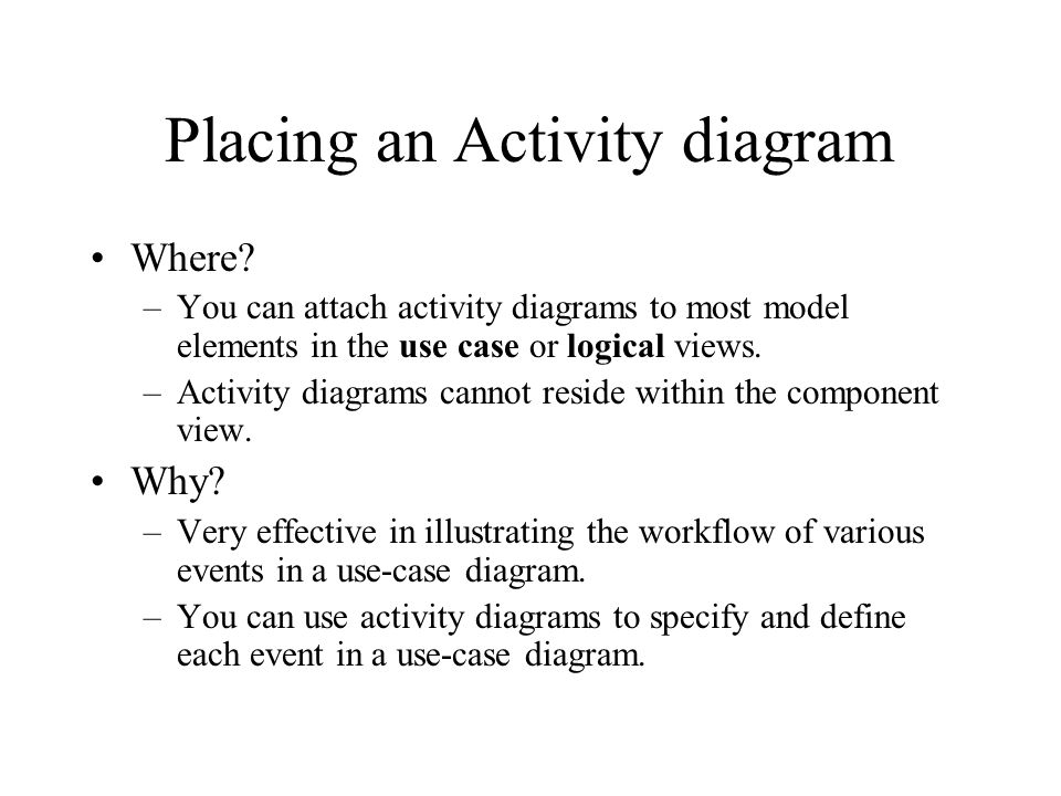 Placing an Activity diagram Where.