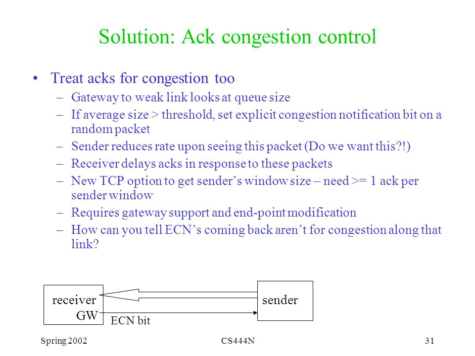 Spring 2002CS444N31 Solution: Ack congestion control Treat acks for congestion too –Gateway to weak link looks at queue size –If average size > threshold, set explicit congestion notification bit on a random packet –Sender reduces rate upon seeing this packet (Do we want this !) –Receiver delays acks in response to these packets –New TCP option to get sender's window size – need >= 1 ack per sender window –Requires gateway support and end-point modification –How can you tell ECN's coming back aren't for congestion along that link.