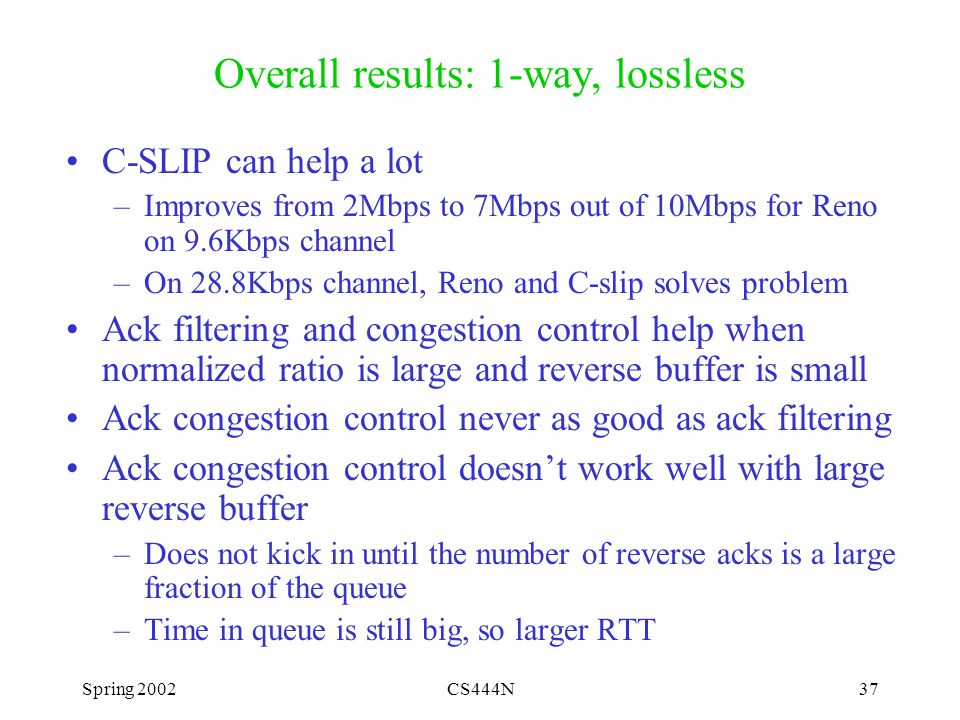 Spring 2002CS444N37 Overall results: 1-way, lossless C-SLIP can help a lot –Improves from 2Mbps to 7Mbps out of 10Mbps for Reno on 9.6Kbps channel –On 28.8Kbps channel, Reno and C-slip solves problem Ack filtering and congestion control help when normalized ratio is large and reverse buffer is small Ack congestion control never as good as ack filtering Ack congestion control doesn't work well with large reverse buffer –Does not kick in until the number of reverse acks is a large fraction of the queue –Time in queue is still big, so larger RTT