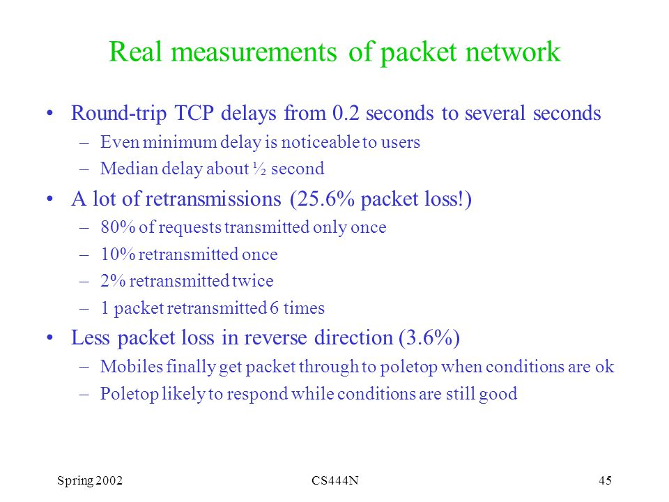 Spring 2002CS444N45 Real measurements of packet network Round-trip TCP delays from 0.2 seconds to several seconds –Even minimum delay is noticeable to users –Median delay about ½ second A lot of retransmissions (25.6% packet loss!) –80% of requests transmitted only once –10% retransmitted once –2% retransmitted twice –1 packet retransmitted 6 times Less packet loss in reverse direction (3.6%) –Mobiles finally get packet through to poletop when conditions are ok –Poletop likely to respond while conditions are still good