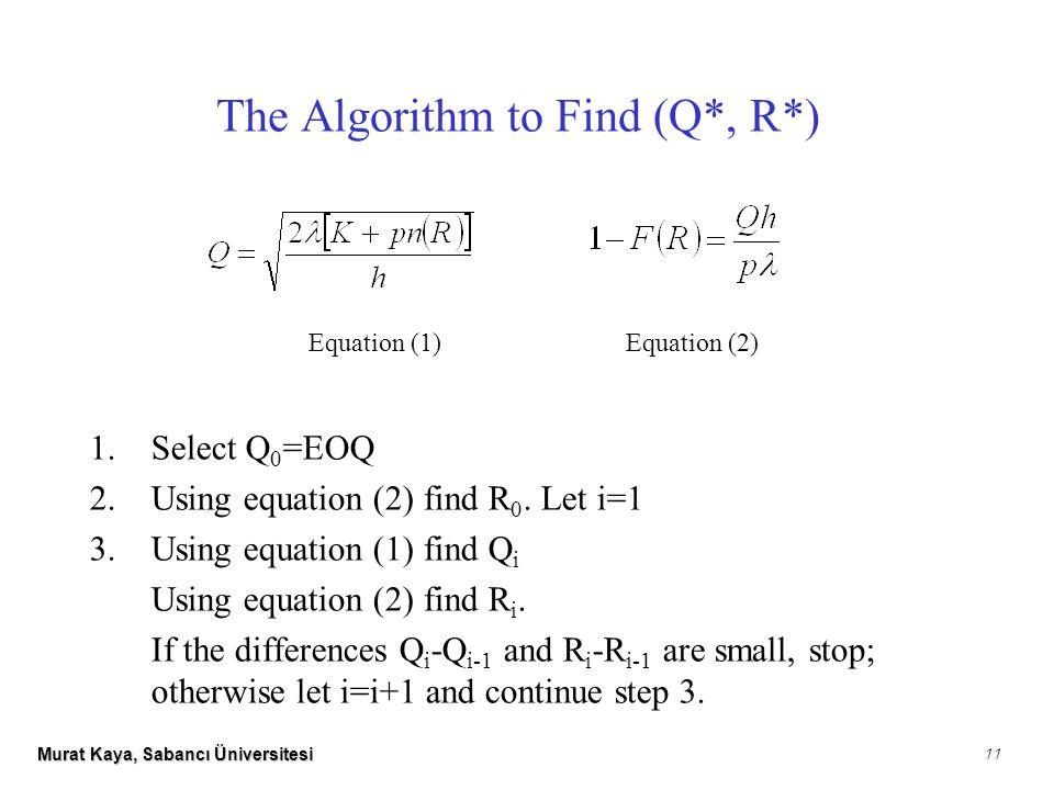 Murat Kaya, Sabancı Üniversitesi 11 1.Select Q 0 =EOQ 2.Using equation (2) find R 0.