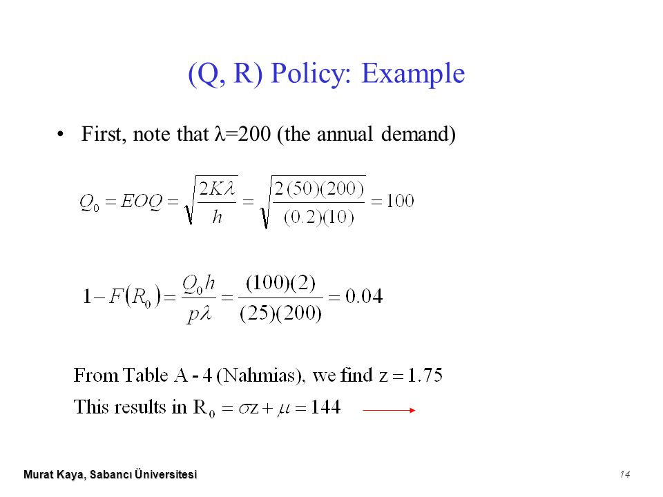 Murat Kaya, Sabancı Üniversitesi 14 (Q, R) Policy: Example First, note that λ=200 (the annual demand)