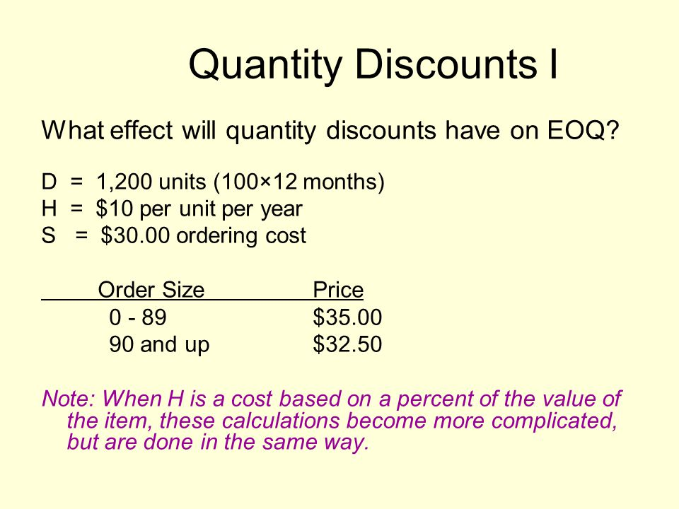 Quantity Discounts I What effect will quantity discounts have on EOQ.