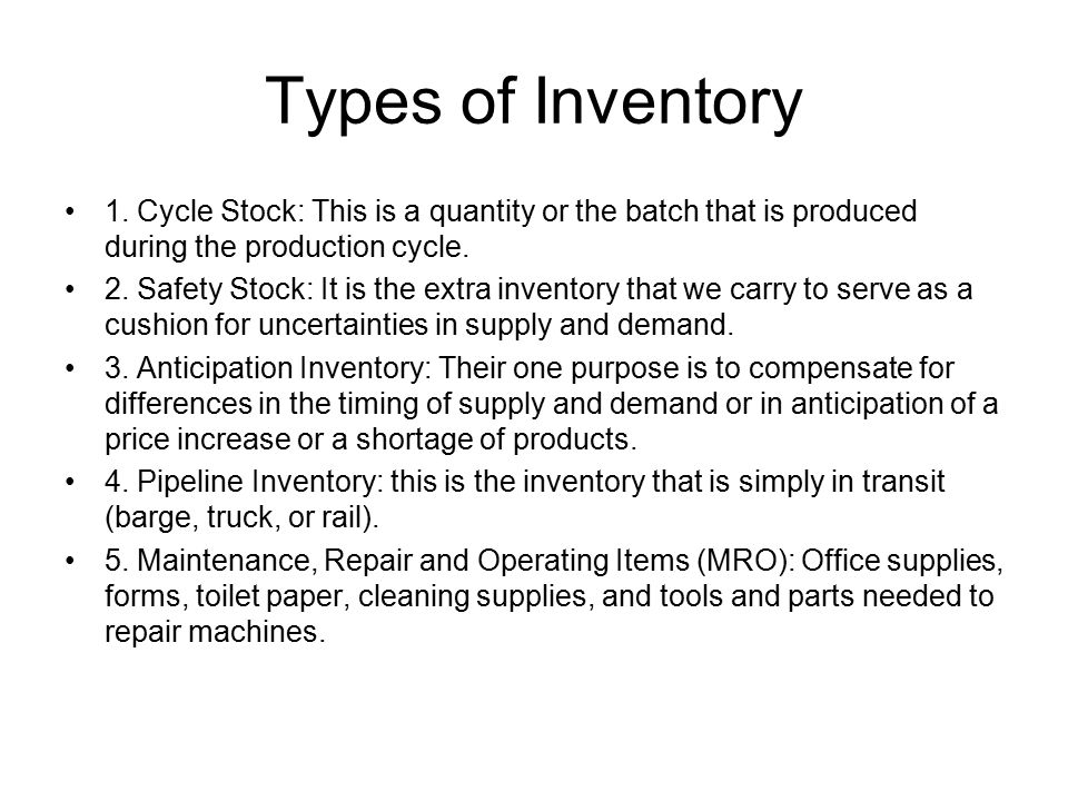 Inventory Costs 1.