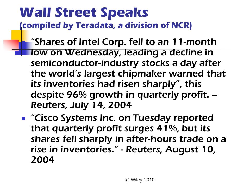 "© Wiley 2010 Wall Street Speaks (compiled by Teradata, a division of NCR) ""Shares of Intel Corp. fell to an 11-month low on Wednesday, leading a decli"