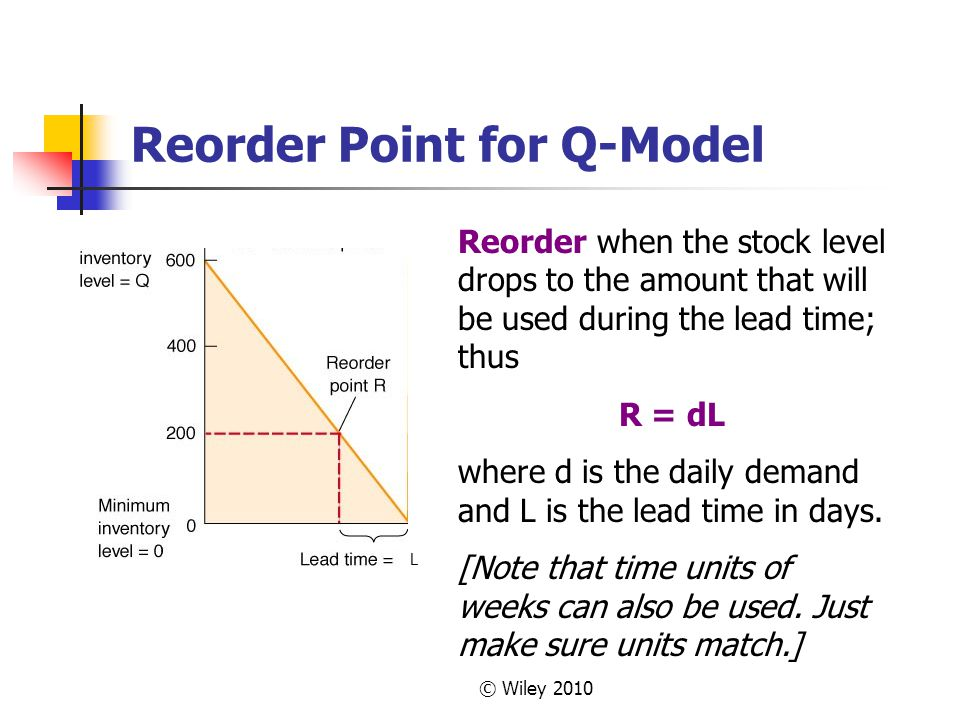 © Wiley 2010 Reorder Point for Q-Model Reorder when the stock level drops to the amount that will be used during the lead time; thus R = dL where d is