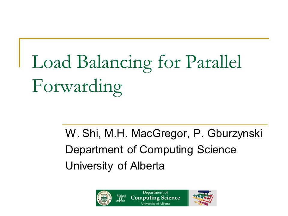 Load Balancing for Parallel Forwarding W. Shi, M.H.