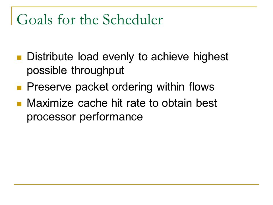 Goals for the Scheduler Distribute load evenly to achieve highest possible throughput Preserve packet ordering within flows Maximize cache hit rate to obtain best processor performance