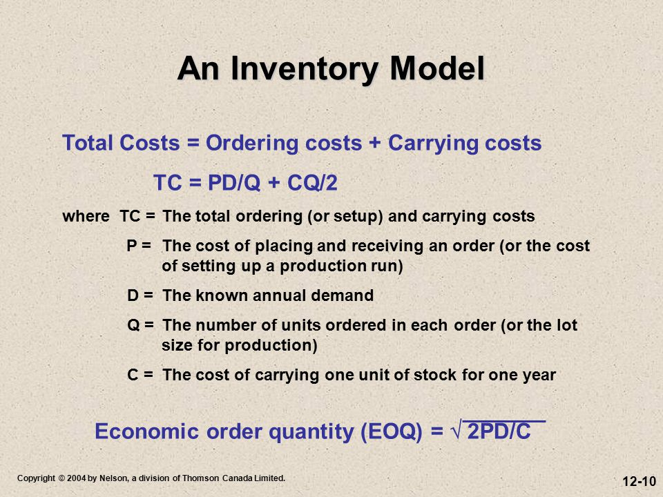 12-10 Copyright © 2004 by Nelson, a division of Thomson Canada Limited. Total Costs = Ordering costs + Carrying costs TC = PD/Q + CQ/2 where TC =The t