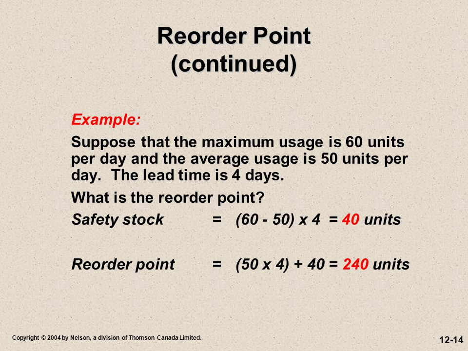 12-14 Copyright © 2004 by Nelson, a division of Thomson Canada Limited. Reorder Point (continued) Example: Suppose that the maximum usage is 60 units