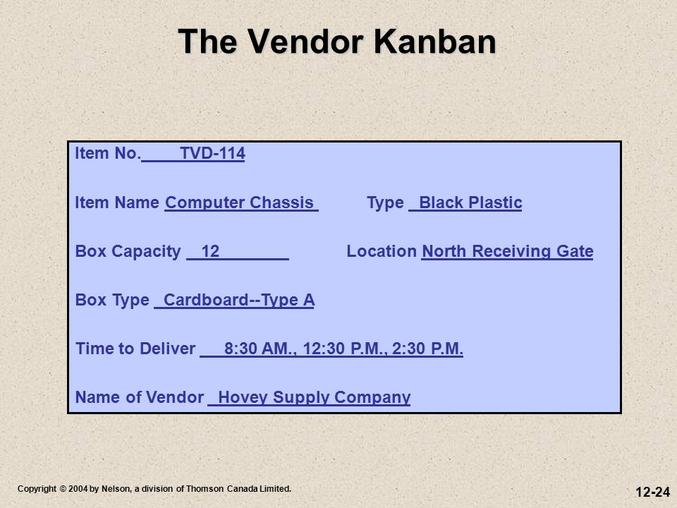 12-24 Copyright © 2004 by Nelson, a division of Thomson Canada Limited. The Vendor Kanban Item No. TVD-114 Item Name Computer Chassis Type Black Plast