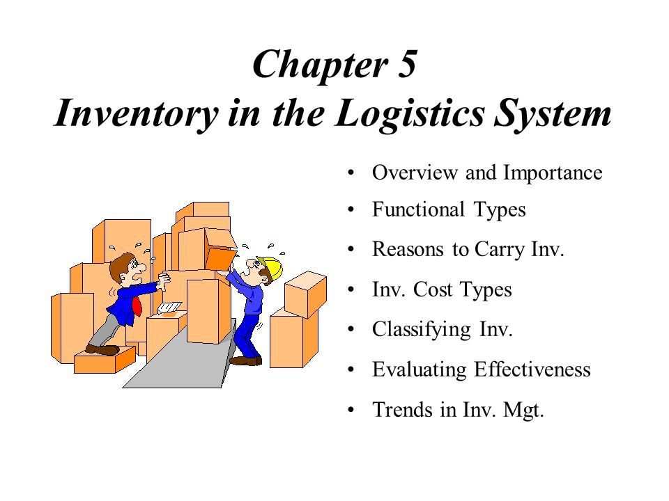 Chapter 5 Inventory in the Logistics System Overview and Importance Functional Types Reasons to Carry Inv.