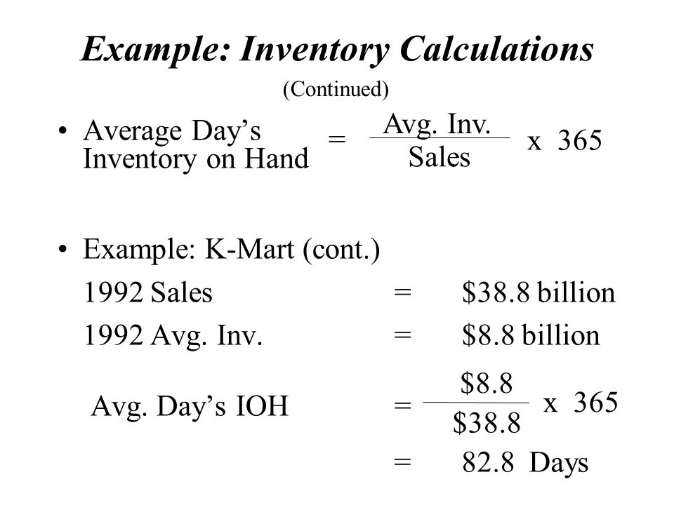 Example: Inventory Calculations Average Day's Inventory on Hand Example: K-Mart (cont.) 1992 Sales=$38.8 billion 1992 Avg.