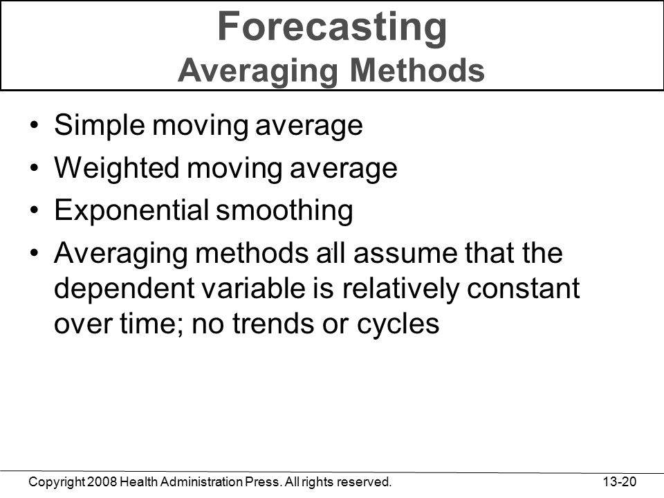 Copyright 2008 Health Administration Press. All rights reserved. 13-20 Forecasting Averaging Methods Simple moving average Weighted moving average Exp