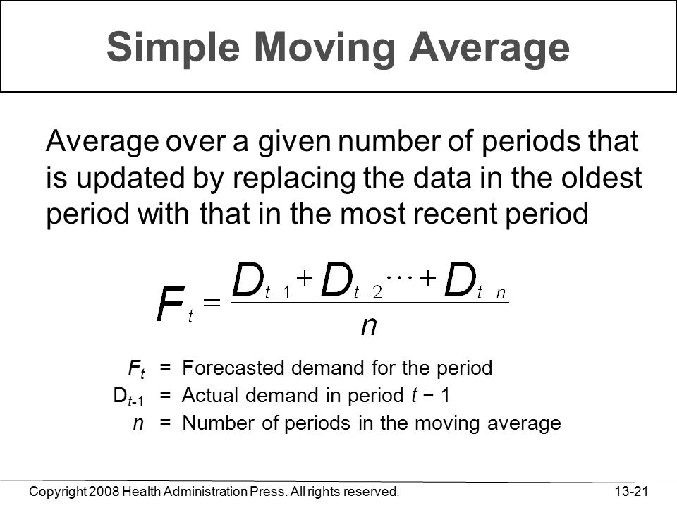 Copyright 2008 Health Administration Press. All rights reserved. 13-21 Simple Moving Average Average over a given number of periods that is updated by