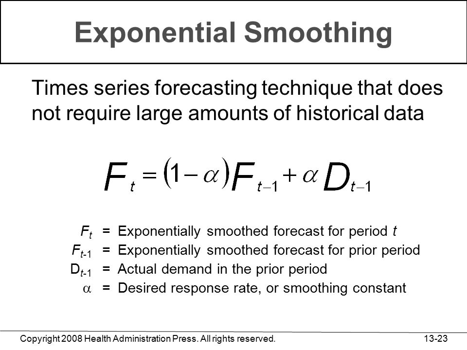 Copyright 2008 Health Administration Press. All rights reserved. 13-23 Exponential Smoothing Times series forecasting technique that does not require