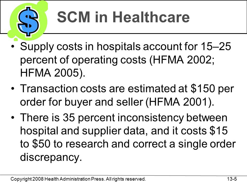 Copyright 2008 Health Administration Press. All rights reserved. 13-5 SCM in Healthcare Supply costs in hospitals account for 15–25 percent of operati