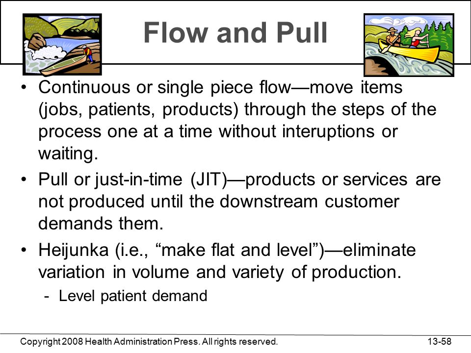 Copyright 2008 Health Administration Press. All rights reserved. 13-58 Flow and Pull Continuous or single piece flow—move items (jobs, patients, produ