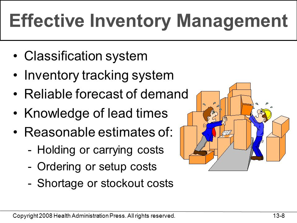 Copyright 2008 Health Administration Press. All rights reserved. 13-8 Effective Inventory Management Classification system Inventory tracking system R