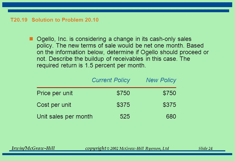 Irwin/McGraw-Hillcopyright © 2002 McGraw-Hill Ryerson, Ltd Slide 24 T20.19 Solution to Problem 20.10 Ogello, Inc.