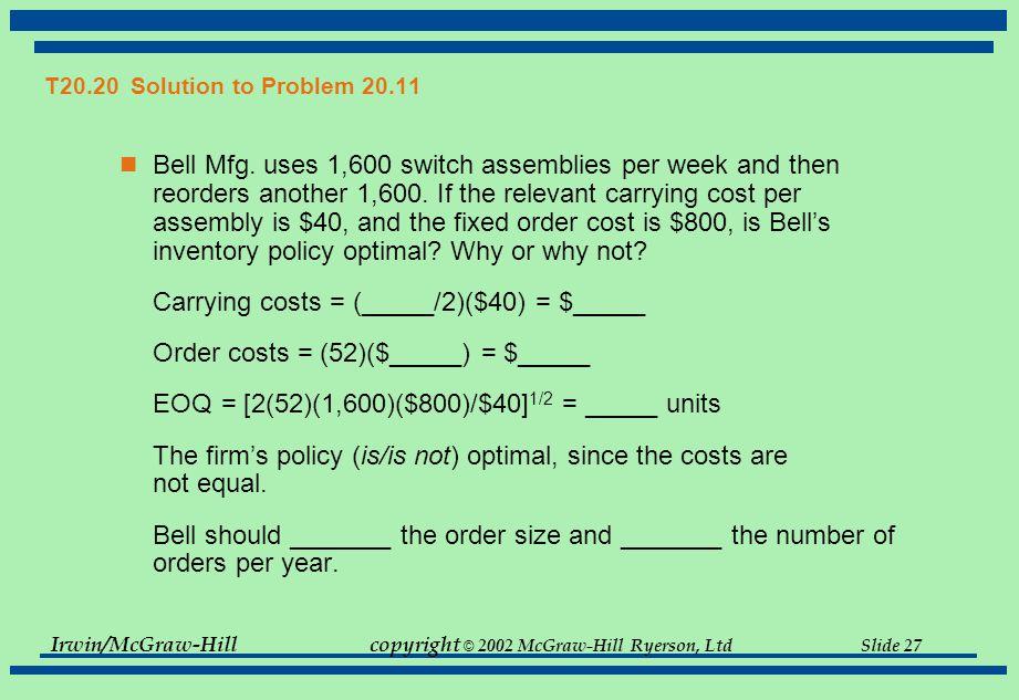 Irwin/McGraw-Hillcopyright © 2002 McGraw-Hill Ryerson, Ltd Slide 27 T20.20 Solution to Problem 20.11 Bell Mfg.