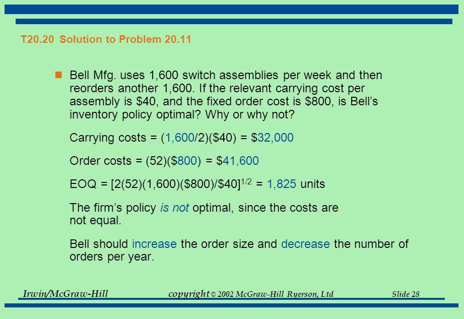 Irwin/McGraw-Hillcopyright © 2002 McGraw-Hill Ryerson, Ltd Slide 28 T20.20 Solution to Problem 20.11 Bell Mfg.
