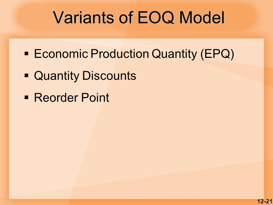 12-21  Economic Production Quantity (EPQ)  Quantity Discounts  Reorder Point Variants of EOQ Model