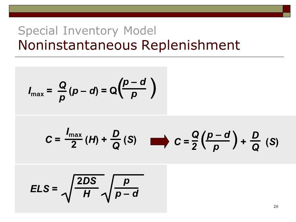 26 Special Inventory Model Noninstantaneous Replenishment I max = (p – d) = Q ( ) QpQp p – d p C = (H) + (S) I max 2 DQDQ C = ( ) + (S) DQDQ Q p – d 2 p ELS = p p – d 2DS H