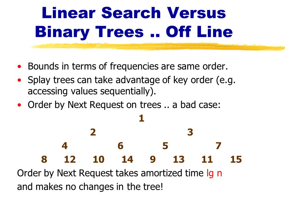 Linear Search Versus Binary Trees.. Off Line Bounds in terms of frequencies are same order.