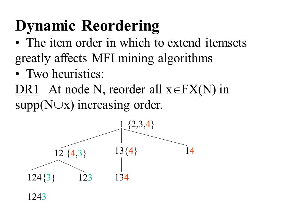 Dynamic Reordering The item order in which to extend itemsets greatly affects MFI mining algorithms Two heuristics: DR1 At node N, reorder all x  FX(N) in supp(N  x) increasing order.