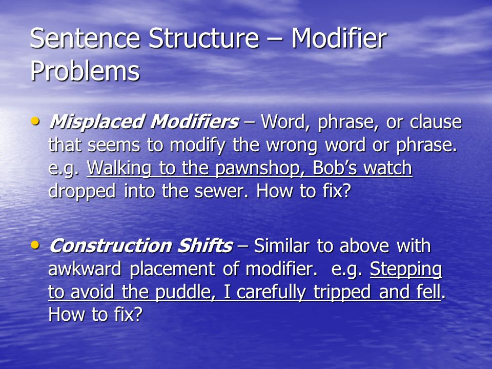 Sentence Structure – Parallelism Non-parallel construction (aka Parallelism) Non-parallel construction (aka Parallelism) 1) Look for a series of words, phrases, or clauses.