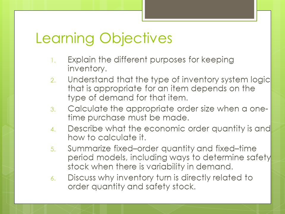 Inventory  You should visualize inventory as stacks of money sitting on forklifts, on shelves, and in trucks and planes while in transit  For many businesses, inventory is the largest asset on the balance sheet at any given time  Inventory is often not very liquid  It is a good idea to try to get your inventory down as far as possible  The average cost of inventory in the United States is 30 to 35 percent of its value LO 1
