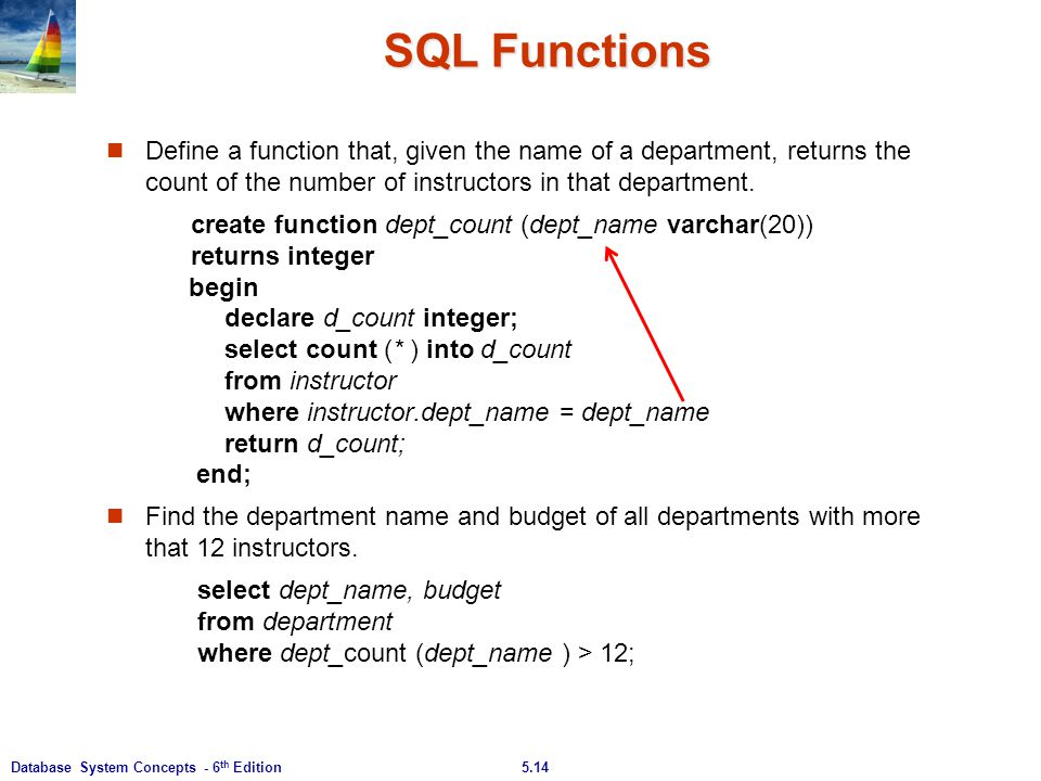 5.14Database System Concepts - 6 th Edition SQL Functions Define a function that, given the name of a department, returns the count of the number of i