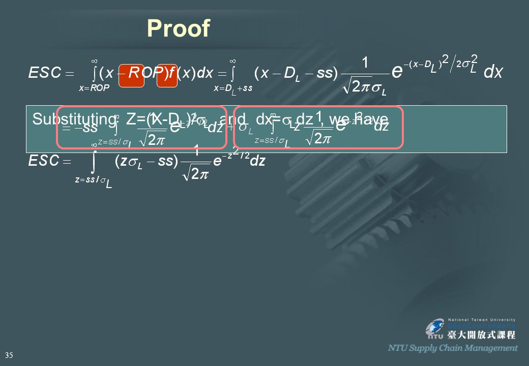 Proof Substituting Z=(X-D L )/  L and dx=  L dz, we have 35