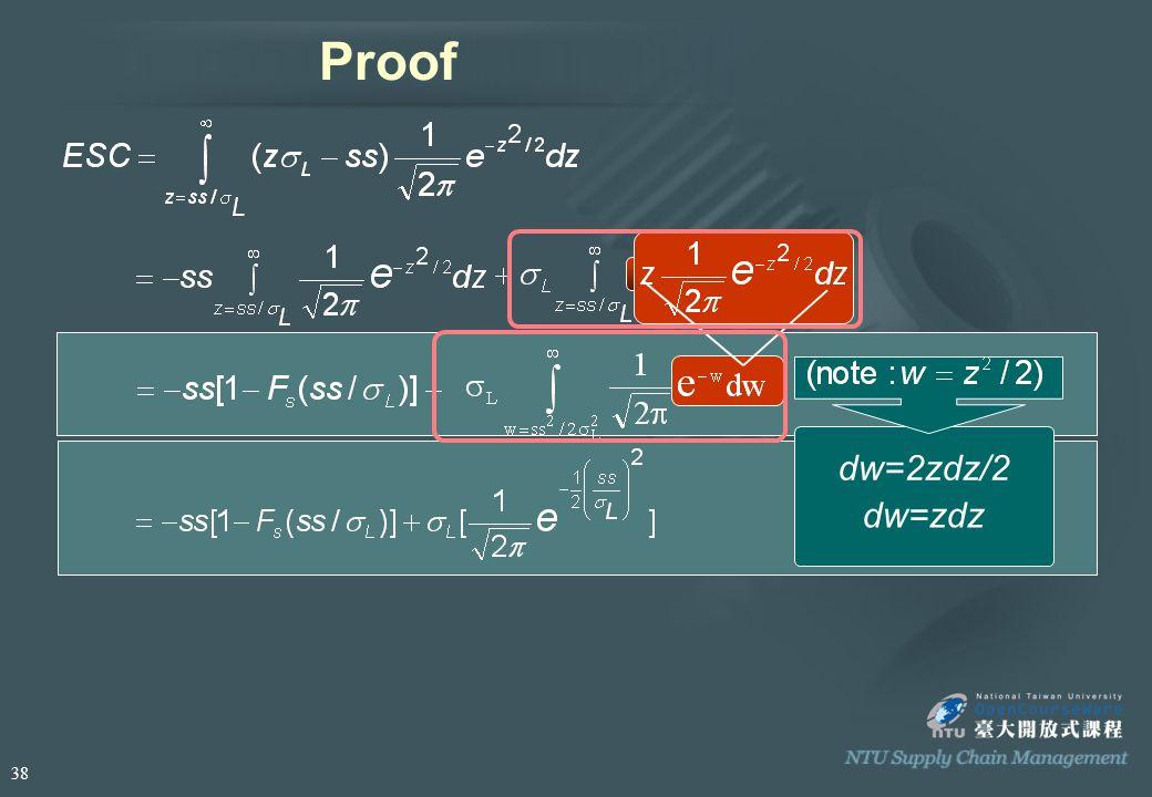 Proof dw=2zdz/2 dw=zdz 38